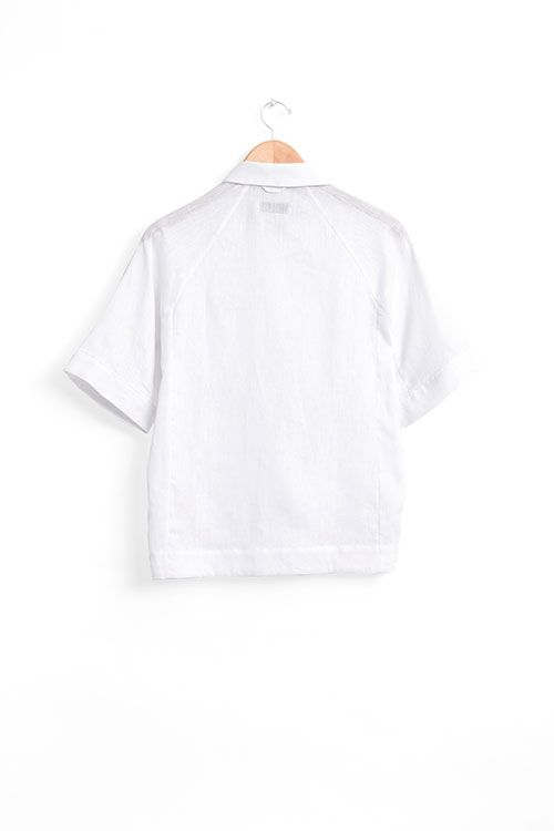 The Sleep Shirt Raglan Pyjama Top in White Linen