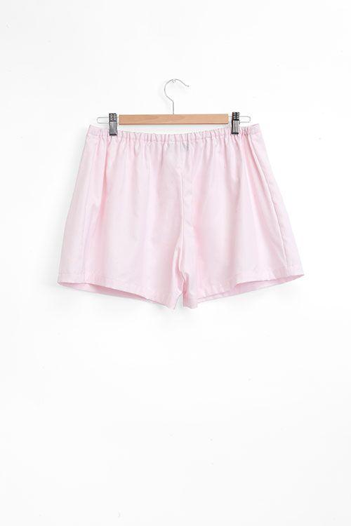 The Sleep Shirt Pleat Short Pink Royal Oxford