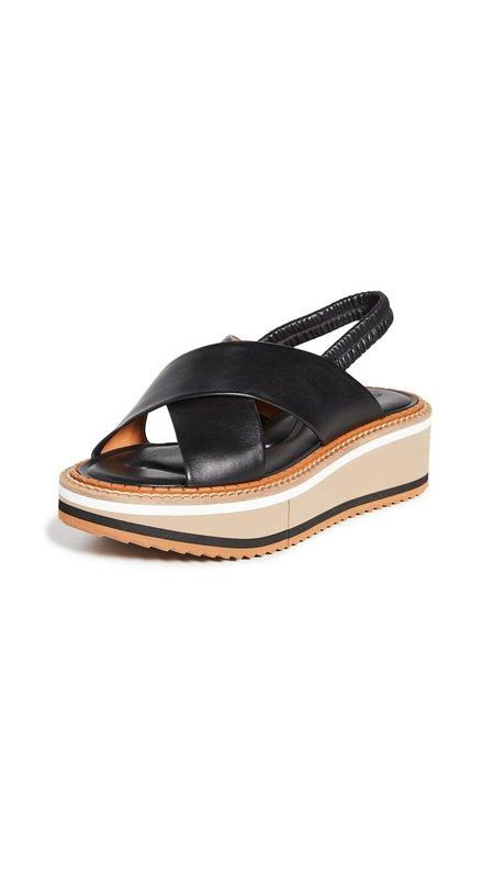Robert Clergerie Freedom 3 Slingback Platform Sandals - Black Striped