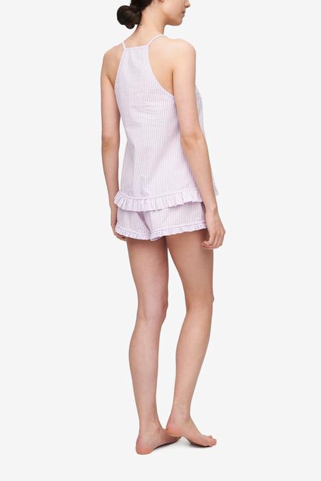 The Sleep Shirt Ruffle Camisole & Ruffle Short - Lilac Seersucker Stripe