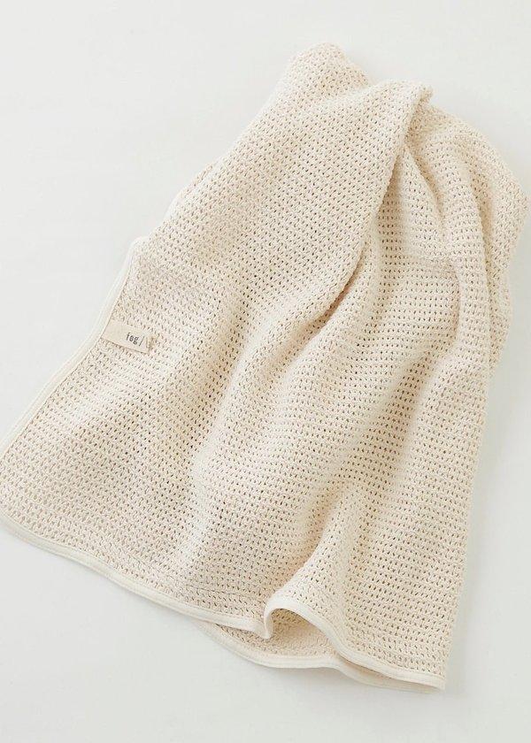 Fog Linen Work Baby Blanket - ivory