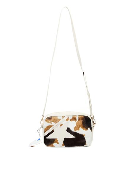 Golden Goose Cow Printed Pony Fur Star Bag - white