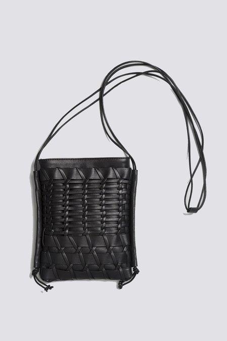 Hereu Trena Woven Leather Crossbody Bag - Black