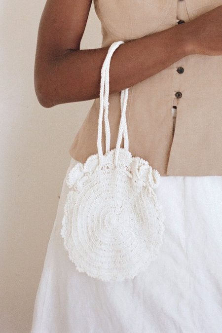 Vintage 1970s Crochet Bag - Off White