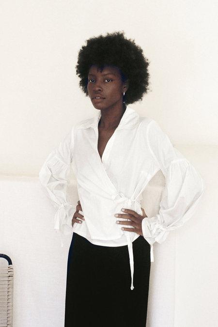 Vintage Cotton Romanza Wrap Blouse - White