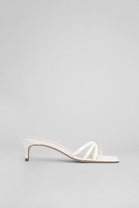BY FAR Libra Patent Leather Sandals - White