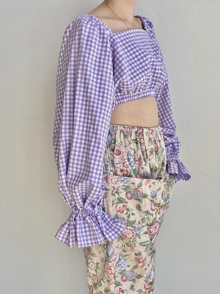 323 Selena Top - Lavender Gingham
