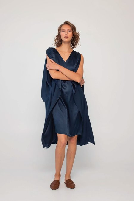 Loup Charmant Juno Kaftan Silk Dress - Midnight