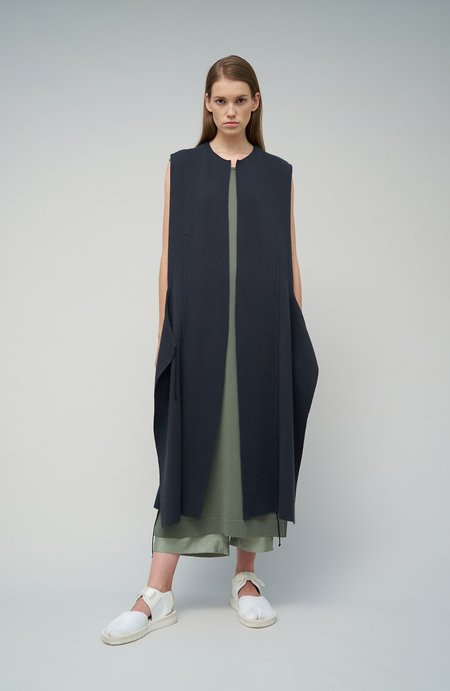 Oyuna Nea Knitted Cashmere/Cotton Lightweight Sleeveless Jacket - Fossil Grey