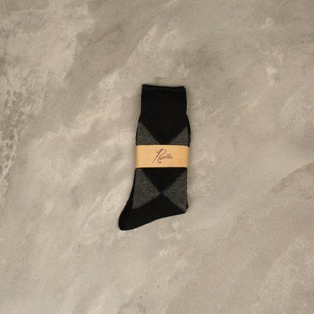 Needles Argyle Jacquard Socks Outlast - Charcoal