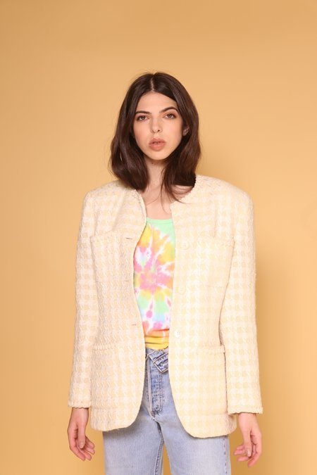 """""""INTENTIONALLY __________."""" ARCHIVE 0268 HOUNDSTOOTH KNIT COAT - CREAM"""