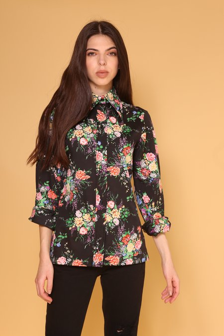 """INTENTIONALLY __________."" ARCHIVE 0277 FLORAL BUTTON UP - BLACK"