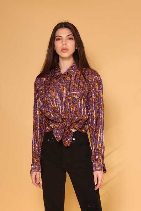 """INTENTIONALLY __________."" ARCHIVE 0279 SILK FLORAL BUTTON DOWN"