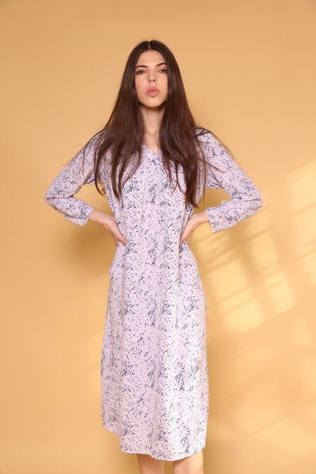 """""""INTENTIONALLY __________."""" ARCHIVE 0295 PRINT DRESS - WHITE / BLUE"""