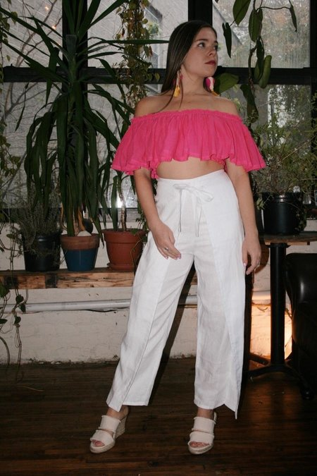 SIR the Label Tie Front Linen Culotte - White