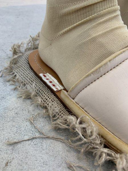 Marni Recycled Raw Cut Nylon & Jute Sandal - Natural