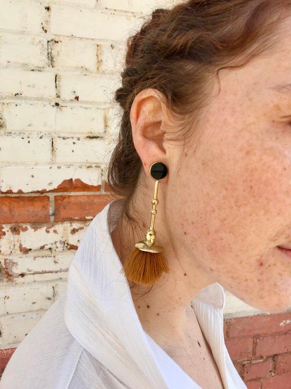 Ora-C Marcel Earrings - Brass/Camel