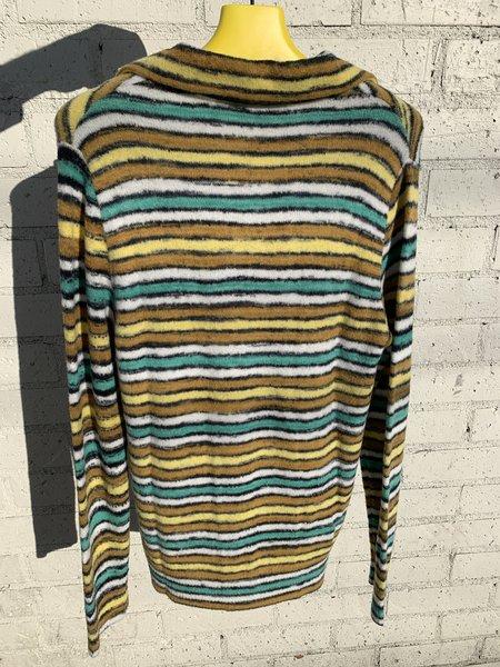 Marni Long Sleeve Polo Neck Fleece Top - Striped