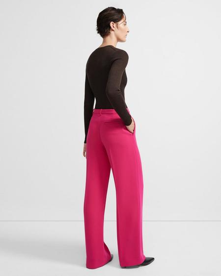 Theory Crepe Wide Trouser - Magenta