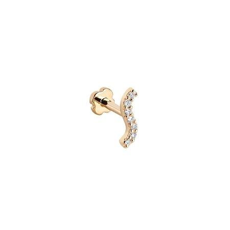 MARIA BLACK Wave Diamond Labret Single Stud - 14K Gold