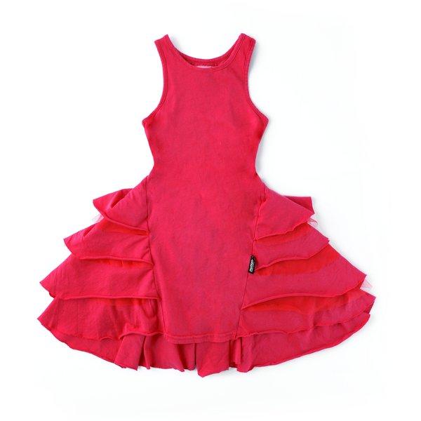 Kids nununu fancy layered dress - lava red
