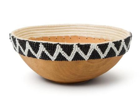 Kazi Beaded Wooden Bowl
