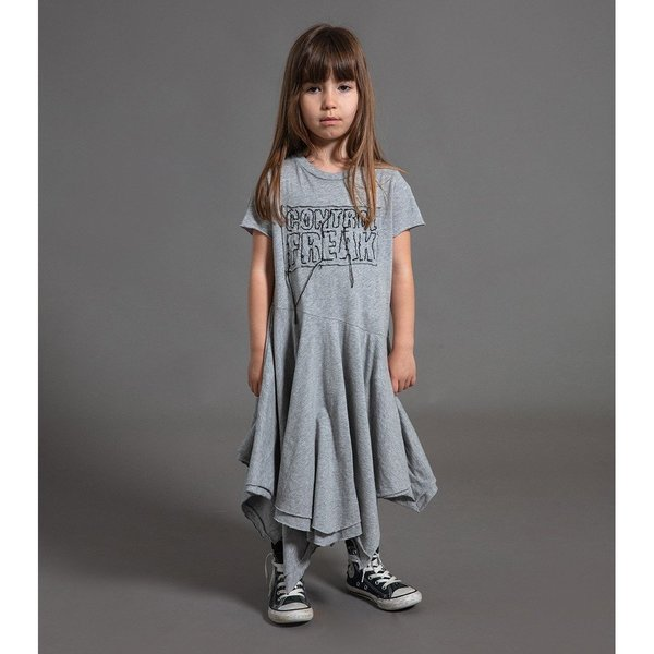 Kids nununu embroidered control freak dress - heather grey
