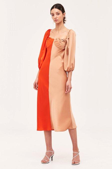 Cameo Thoughtful Dress - Vermilion/Tan