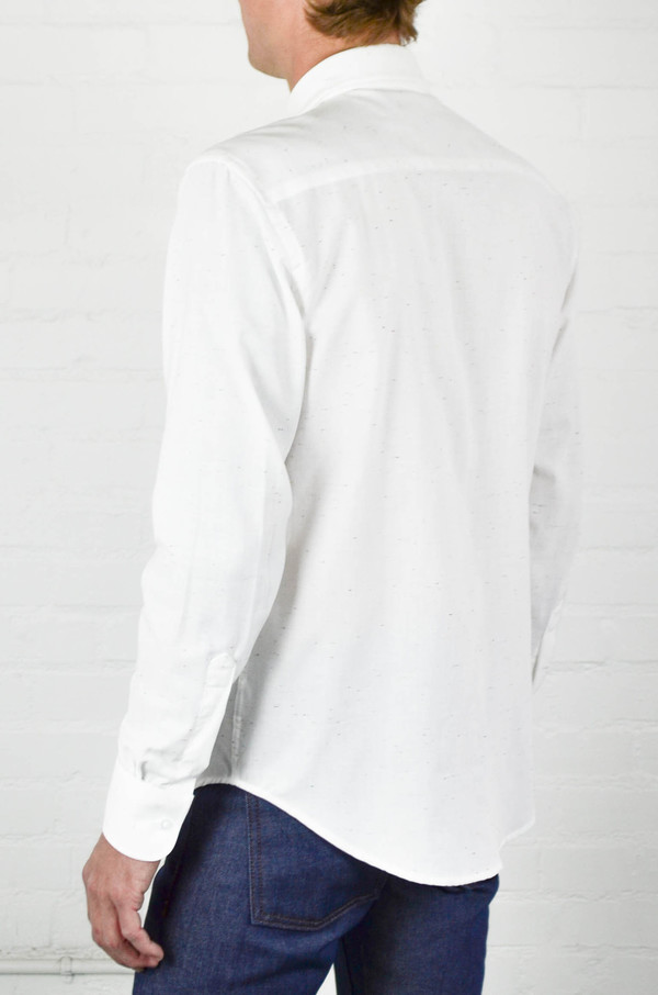 Mens Naked And Famous White Chambray With Multicolor Neps Regular Shirt  Garmentory-9804