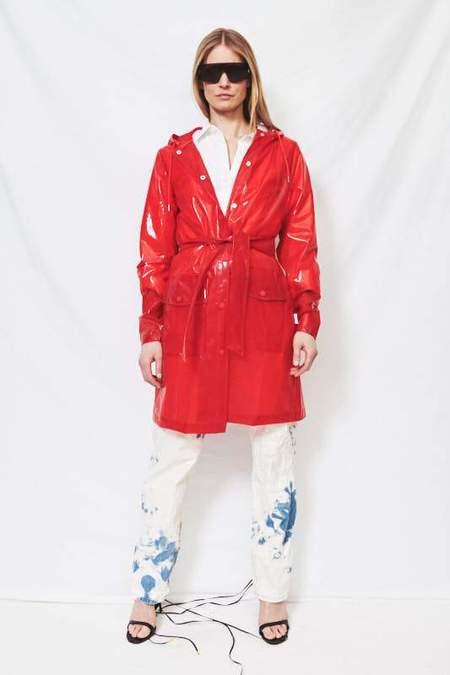 Rains Transparent Belt Jacket - Glossy Red