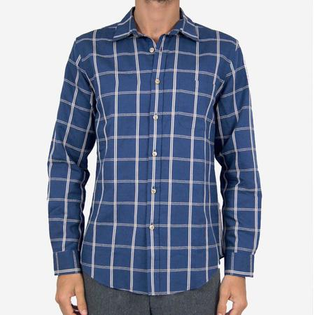 Portuguese Flannel Cohen Checkered Long-Sleeve Shirt - Blue