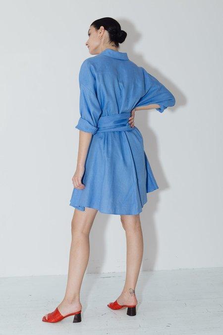 Datura Linen Short Shirt Dress - Empyrean