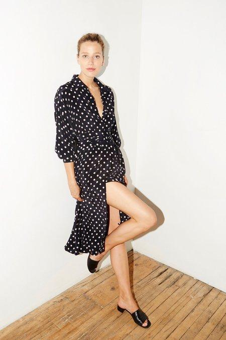 Datura Silk Long Shirt Dress - Polka