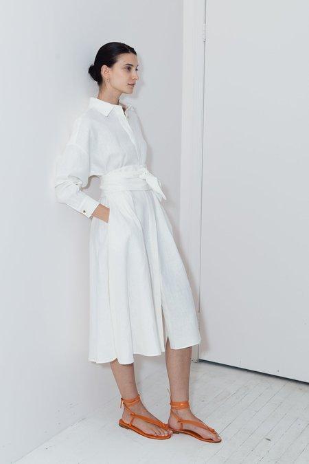 Datura Linen Long Shirt Dress - White
