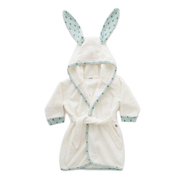 kids Oeuf Bunny with Leek Print Robe - White