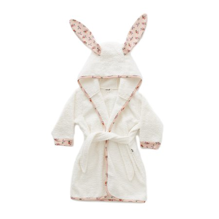 kids Oeuf Bunny with Small Flower Robe - White