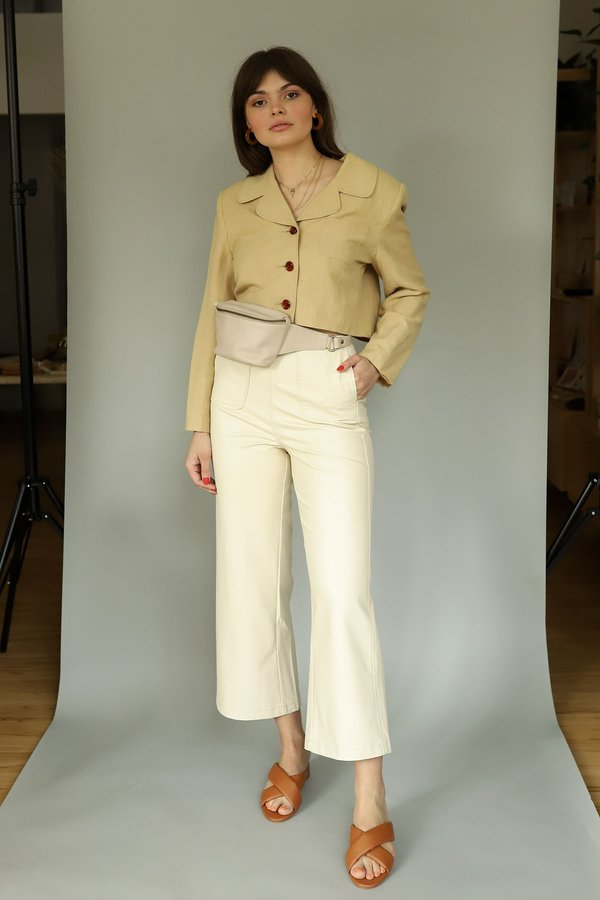 FRNCH Faux Leather High Waist Pants - Creme