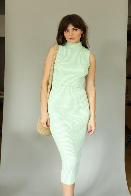 Glamorous Ribbed Knit Midi Skirt - Mint