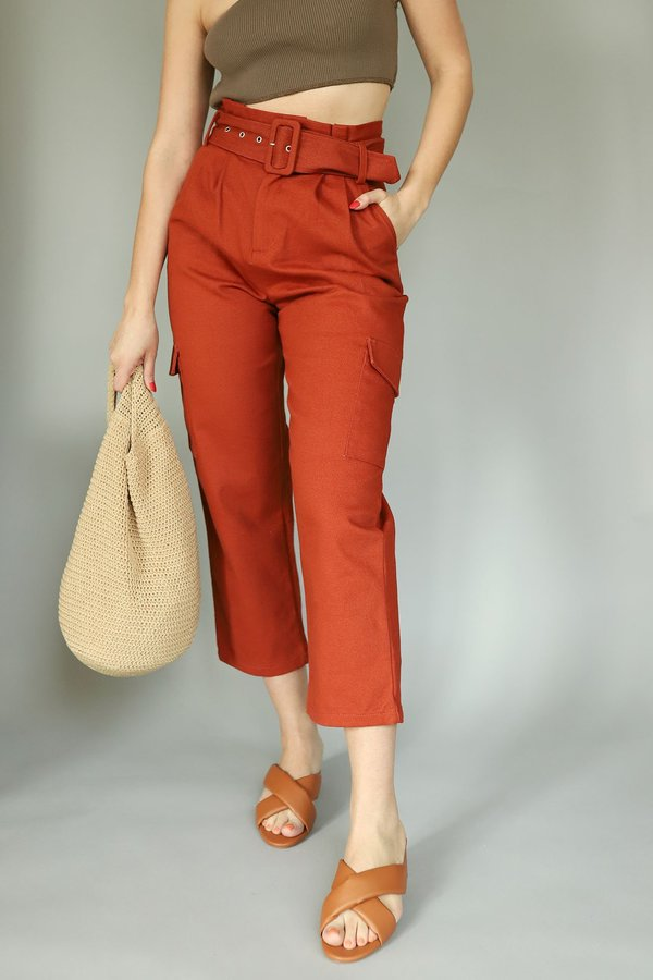 Glamorous Twill Belted Trousers - Rust