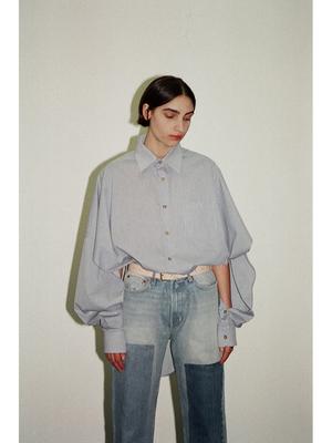 Bless Shirtponcho - Blue White Check