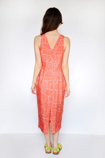 Dusen Dusen Blockhead Red V-Neck Dress