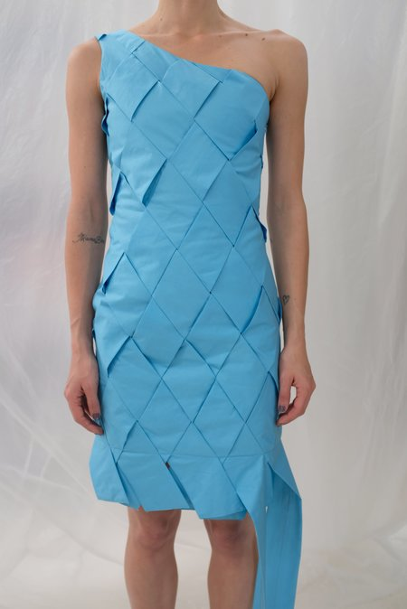 Mozh Mozh Checkered Colibri Dress - Azul