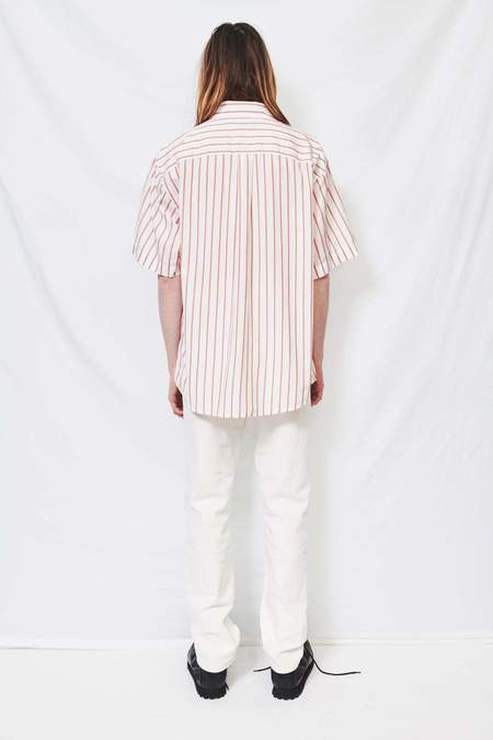 Schnayderman's Oversized Striped Shirt - terracotta/white