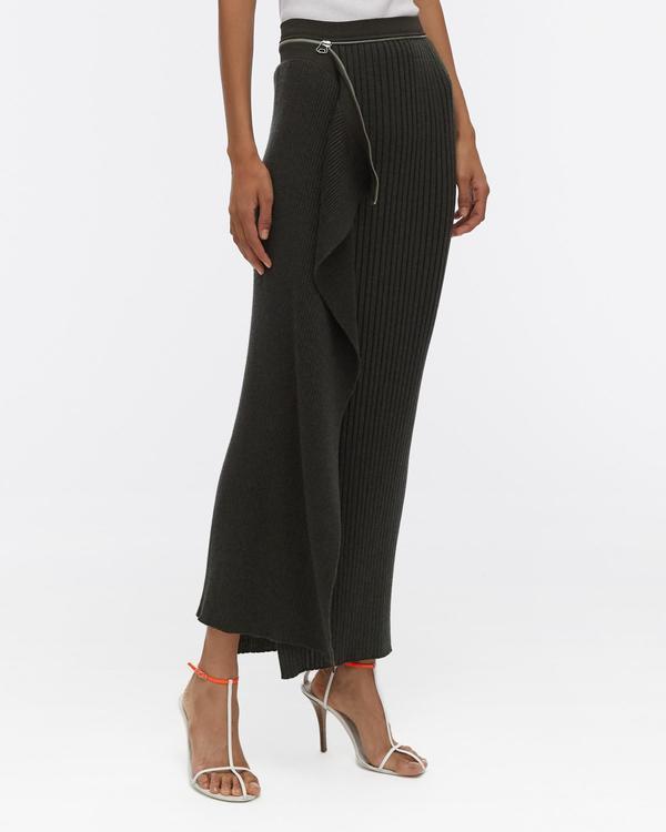 Helmut Lang Layered Wool Skirt - Black