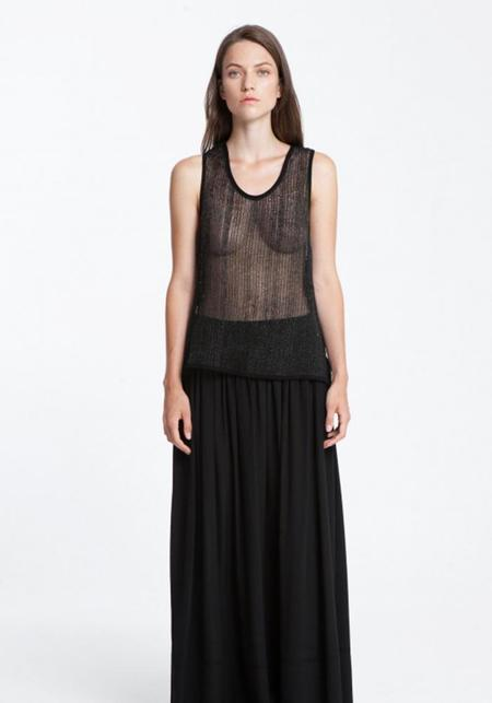 Maurizio Mykonos Leather Netted Tank Top - black