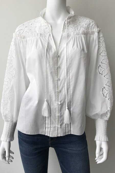 Jonathan Simkhai Brianne Floral Smocked Top - White