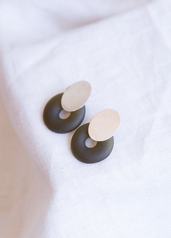 Cled Oval Ring Earrings - Sterling Silver