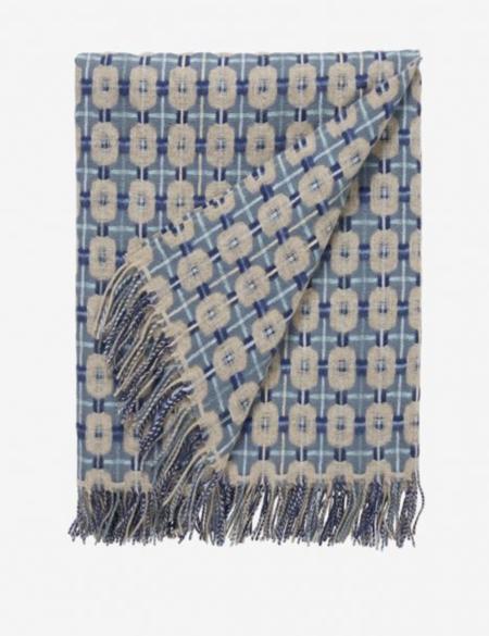 Brora Lambswool Texture Weave Blanket - Indigo