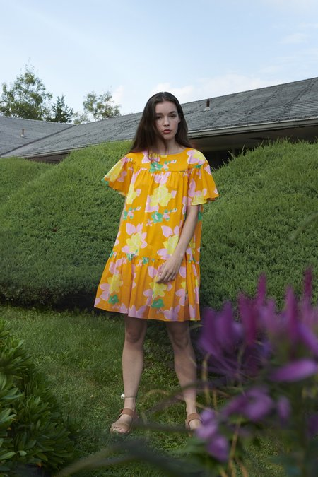 WHiT Hermosa Floral Carly Dress - Orange