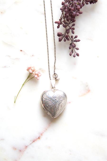 Vintage Double Love Locket - Silver